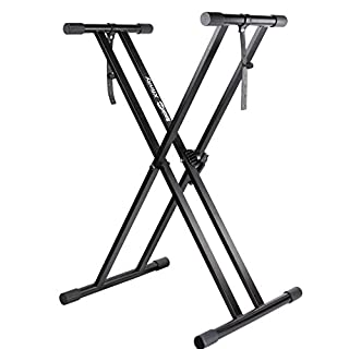 RockJam Xfinity QUICK-LOCK Double-braced Pre-Assembled Adjustable Keyboard Stand with Locking Straps