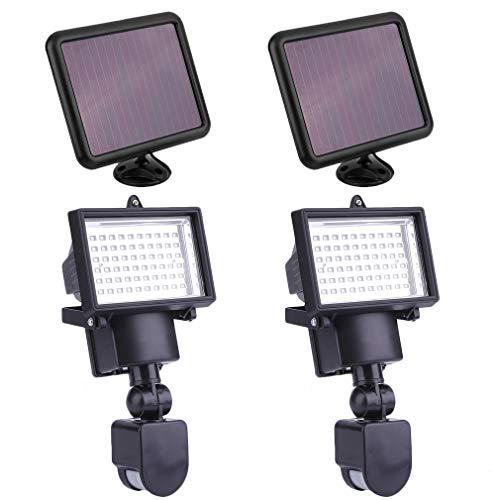 Solar Strahler 2er Set, 60 Led Solarlampen mit Bewegungsmelder - Außen Solarpanel Strahler...
