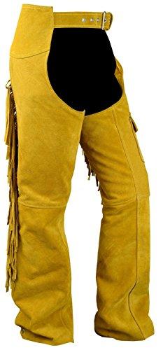 Chaps Fransenhose Reiter Cowboy Indianer Western Lederchaps Lederhose Ocker, Größe:50 -