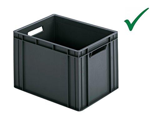 Preisvergleich Produktbild RINGOPLAST Praktische KUNSTSTOFFBOX INDUSTRIEBOX STAPELBOX LAGERBOX Transportbox Aufbewahrungsbox 40 x 30 x 26 cm Grau Universal HOCHBELASTBAR