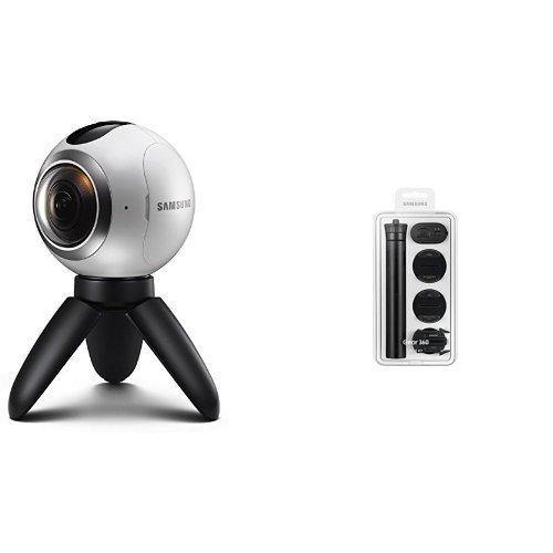 Samsung Gear 360 + Value Kit - Cámara 360 grados con Kit de accesorios (incluye adaptadores para casco, mando y trípode), color blanco y negro