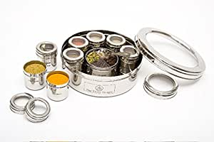 The Three Sisters Authentic Stainless Steel Masala Dabba Spice Box with Spices