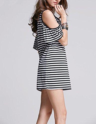 IHRKleid Damen Vogue Schulterfrei unregelmäßige sidetale Tunika Top Shirt Hemdkleid Kurz Oversize S- XXXXL Streifen