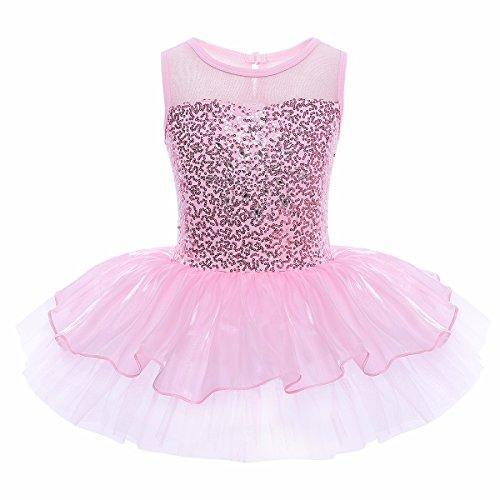 YiZYiF Enfant Filles Justaucorps Danse Tutu T shirt Paillettes Sans Manches 4-8 Ans Rose 1 9-10 ans