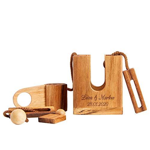 Casa Vivente Flaschenpuzzle aus dunklem Holz mit Gravur - Personalisiert mit Namen, Datum oder Wunschtext - Geschenke für Weinliebhaber