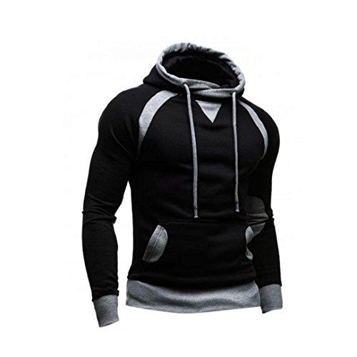 Sweatshirt Homme , Amlaiworld Hiver Sweat à capuche Slim Pull à capuche chaud Tops d'usure Manteau à capuchon (XL, Noir)