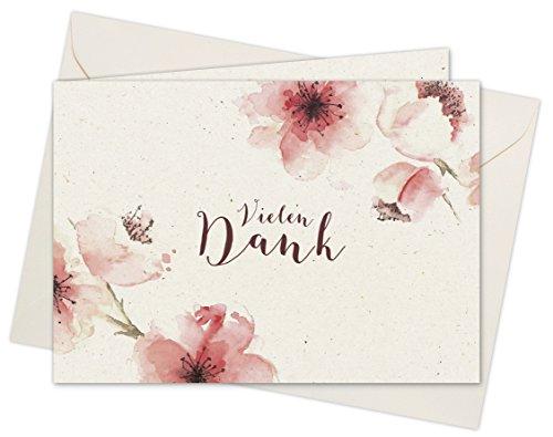 20 Karten & 20 Umschläge: Klappkarten Dankeskarten Kirschblüten DIN A6 im Set, Danke sagen mit Danksagungskarten nach Hochzeit, Geburt, Baby, Taufe, Geburtstag, Konfirmation, Kommunion, Jubiläum