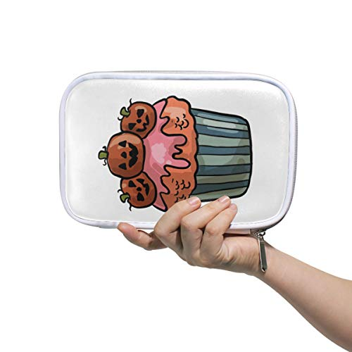 Montoj Gruselige Halloween-Cupcake-Make-up-Pinseltasche mit Reißverschluss, große Kapazität, Stifte-Organizer (Kunst Und Halloween Handwerk Einfache Für)