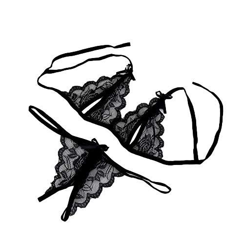 Auied Frauen Spitze UnterwäSche NachtwäSche G-String Dessous Zweiteiliges Schwarz Strapsen ReizwäSche Corsage Lingerie UnterwäSche Push Up BH + Panty Bustier FüR Damen