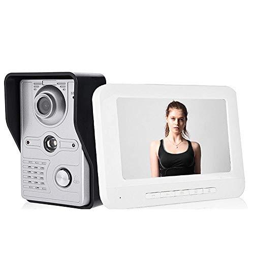 Videocitofono, Video Campanello, Citofono Videocitofono, 7 pollici con visione notturna, impermeabile, chiamata, citofono, sblocco, sorveglianza, funzione interna citofono(EU)