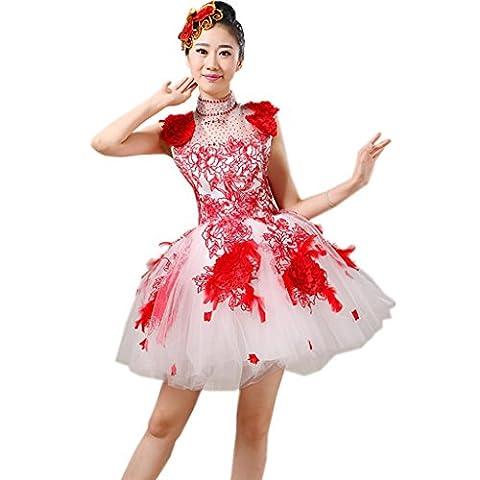Byjia Frauen Eröffnungs-Tanz Kurze Kleider Erwachsene Hochzeit Prinzessin Big Rock Druck Stickerei Moderne Nation Klassische Bühne Aufführungen Kostüme Chor Gruppe Gruppe Team Outfit Red (Groß Nation-kostüm Für Erwachsene)