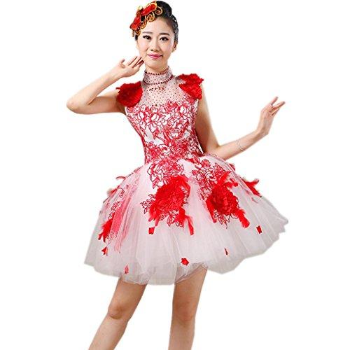Byjia Frauen Eröffnungs-Tanz Kurze Kleider Erwachsene Hochzeit Prinzessin Big Rock Druck Stickerei Moderne Nation Klassische Bühne Aufführungen Kostüme Chor Gruppe Gruppe Team Outfit Red Xxl (Gruppe Kostüme Für Arbeit)