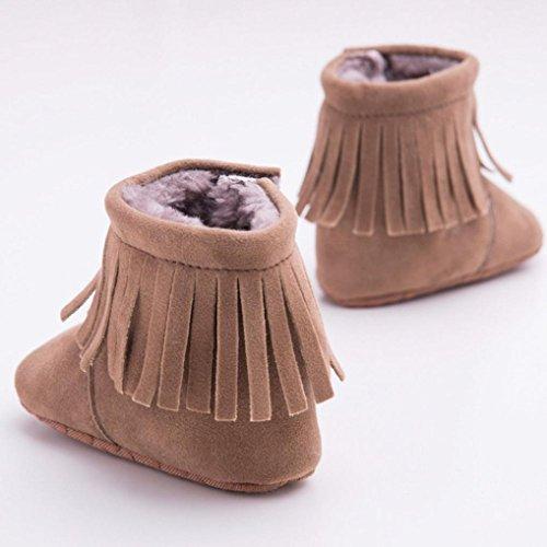 kingko® Unisex Newborn Quaste Dekor Winter warme Schneeschuhe weiche alleinige Kind-Schuh Kaffee
