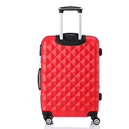Zwillingsrollen 2066 Hartschale Trolley Koffer Reisekoffer Reisekoffer Gepäck M-L-XL-Set in 12 Farben Rot