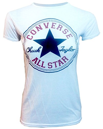 Convers'aLL sTAR nouvelle femmes manches courtes sLIM fIT t-sHIRT tOP taille uK uK 14 nEW à manches courtes pour femme tOP convers'aLL sTAR t-sHIRT coupe sLIM - White/Weiß