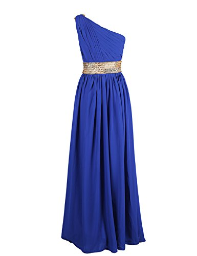 Dresstells Damen Ballkleider Abendkleid Chiffon One-Shoulder DT90613 Gelb