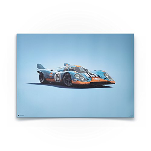 Automobilist Porsche 917 Gulf - Einzigartiges Design, Poster - Blau- Standard Poster Format 50 x 70 cm