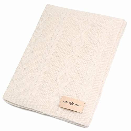 100% Merino Wolle Decke von gestrickt NordSnow antiallergische und sehr weich, Made in Europe 80x100cm Ecru -