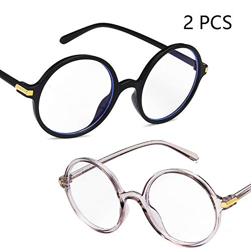Anti-Blu-Ray-Brille, Retro Round Frame Flat Mirror, Mode Vielseitige Literarische Computer Brille, Unisex (2PCS),4
