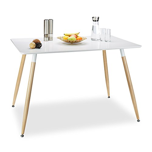 Relaxdays Esstisch weiß ARVID, Holz, rechteckig, HxBxT: 75 x 120 x 80 cm, Beine natur, Gummi Untersetzer, white