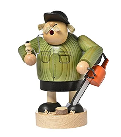 KWO Lumberjack Worker with Chainsaw German Wood Christmas Incense Smoker