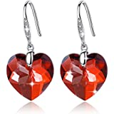 GoSparkling Earrings- Red Magma Crystal Heart Shaped 925 Silver Earrings- Made of 100% Austrian Crystal & Sterling Silver- Top Quality Women & Girl Jewelry-Fashionable Gift Idea For Her- ER-28104