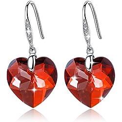 GoSparking cristal rojo Corazón Pendientes de plata esterlina con el cristal austriaco para las mujeres