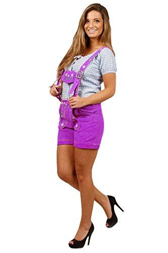 Damen Trachten Lederhose kurz, super Passform Lila