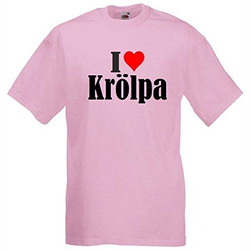 """T-Shirt """"I Love Krölpa"""" für Damen Herren und Kinder ... in den Farben Schwarz Weiss Pink Pink"""