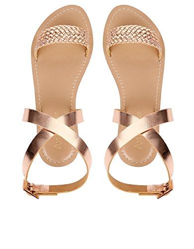 Accessorize Sandales tressées Verona - Femme Rose Gold