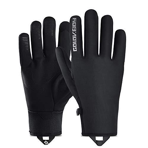 Golovejoy Guanti da Ciclismo Inverno Caldo Impermeabile Touchscreen Guanti da Windstopper per la Guida Equitazione Guanti Termici da Moto e Sci Guanti da Moto da Mountain Bike Guanti (Nero, XL)