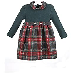 Isabel Maria - Vestido para bebé con el cuerpo de lana y la falda de cuadros escoceses - 2 años, Verde Oscuro / Cuadros escoceses