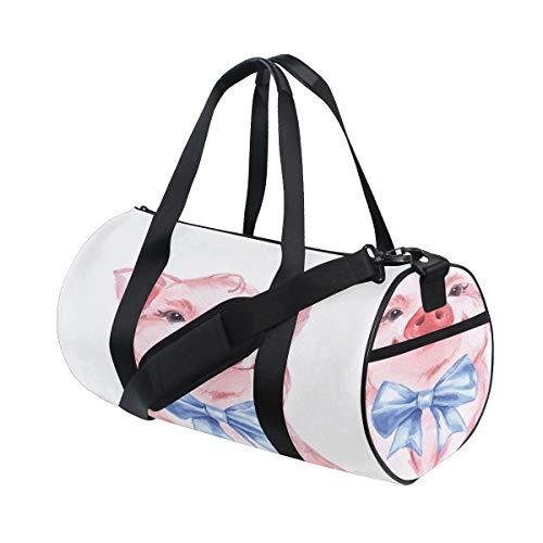 �ck Tier Niedliche Schwein Benutzerdefinierte Multi Leichte Große Yoga Gym Totes Handtasche Reise Canvas Seesäcke Mit Schulter Crossbody Fitness Gepäck Für Jungen Mädchen Womens ()