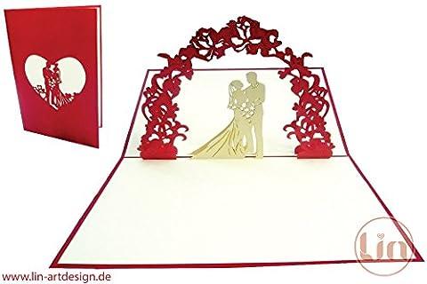 Lin de Pop up carte, cartes de mariage, mariage, invitations, cartes de mariage cartes de vœux 3D, Félicitations de mariage couple de mariés sous Fleurs