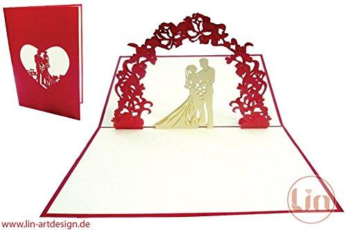 Lin de Pop up carte, cartes de mariage, mariage, invitations, cartes de mariage cartes de vœux 3D, Félicitations de mariage couple de mariés sous Fleurs Arc