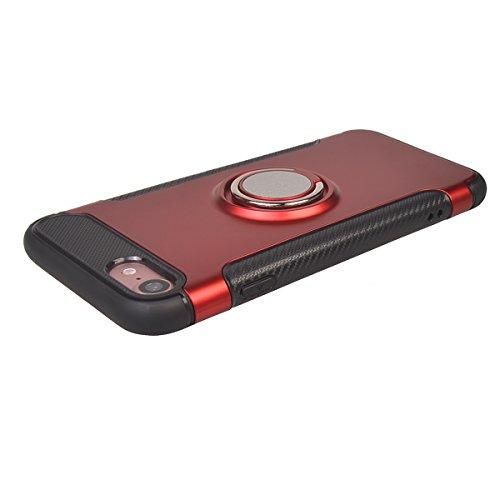 "iPhone 7 ( 4.7"") Hülle,COOLKE Stoßfest Doppelschutz Design Soft TPU+ PC Schale 360 Rotating Ring Grip Stand with Magnetic Car Mount Schutz Tasche Case Cover Schutzhülle für Apple iPhone 7 ( 4.7"") - Sc Rote"