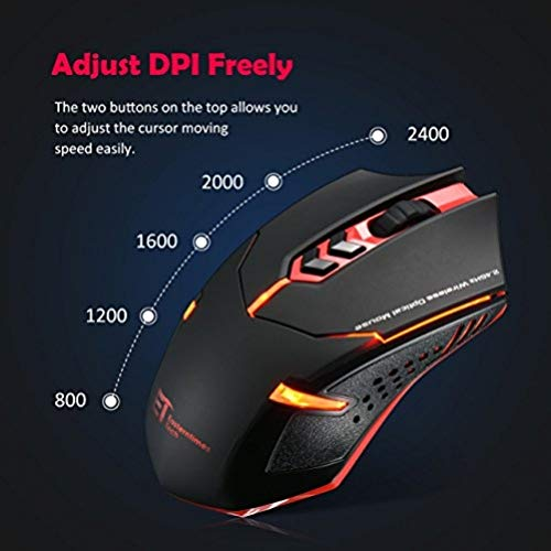 VicTop ET X-08 2400 DPI Einstellbare 2.4G Wireless Maus Funkmaus Professional Gaming Mäuse- Surface Support (Rot)