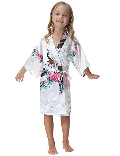 Aibrou Mädchen Morgenmantel Kimono Satin Nachtwäsche Bademantel Kinder mit Blumenmuster für Sleepwear/Party/Hochzeit