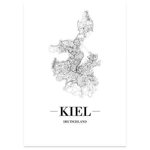 JUNIWORDS Stadtposter, Kiel, Wähle eine Größe, 40 x 60 cm, Poster, Schrift A, Weiß
