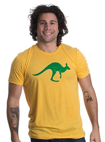 Motivo de Australia con Canguro y Cruz del Sur - Camiseta Unisex para Hombre Vintage Gold Medio Oro Amarillo Vintage - Medio - M
