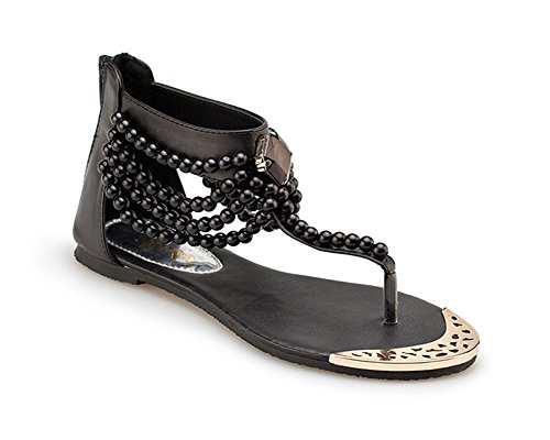 Damen Flache Sandalen Mit Perlen T-Riemen Bohemia Zurück Zipper Schuhe Wulstige Zehentrenner Sandalen Schwarz