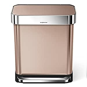simplehuman m lleimer mit beutelfach 30 liter edelstahl rosagold 33 8 x 40 4 cm. Black Bedroom Furniture Sets. Home Design Ideas