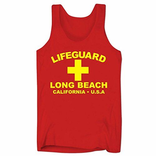 Herren Lifeguard Long Beach California USA Surfer Beach Kostüm Low Cut Träger-Shirt Rot L (Low Cut Schwimmen Kostüm)