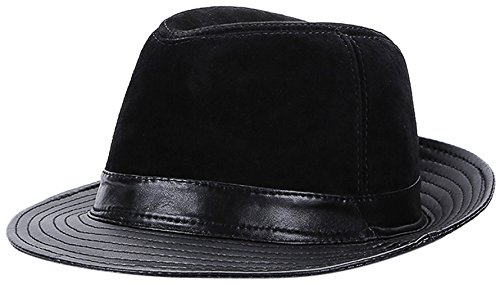 La Vogue-Retro Cappello in Pelle Uomo Jazz Fedora Berretto Pork Pie ... fbb1ef215328