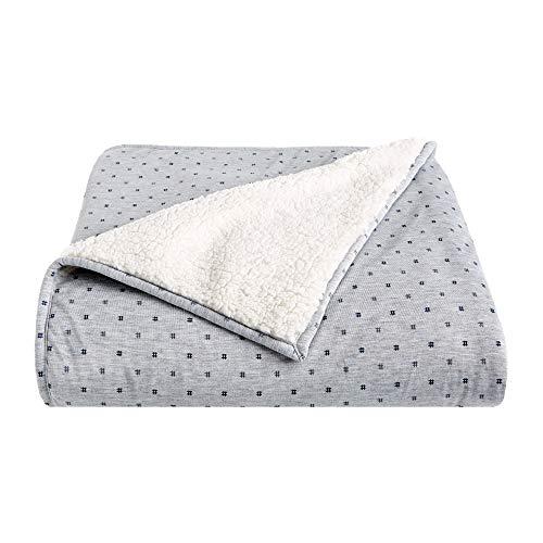 Splendid Home Sherpa/Jersey Throw Blanket 50x70 Heather Grey/Hashtag Sherpa Heather