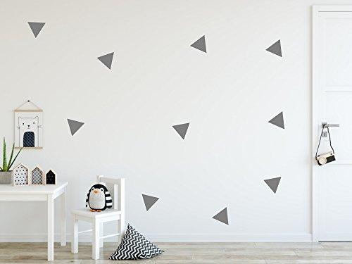 timalo® - Wandtattoo 54 Stück Dreiecke selbstklebend - grau 73068-4x3cm