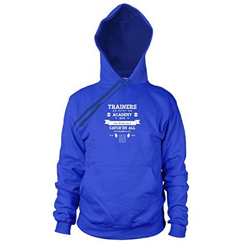 Trainers Academy - Herren Hooded Sweater, Größe: S, Farbe: blau (Pokemon Trainer Blauen Kostüm)
