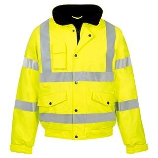 MyShoeStore Hi VIS Viz High Visibility Bomber Jacket Workwear Safety Security Concealed Hood Fluorescent Flashing Hooded Padded Waterproof Work Wear Coat S-4XL(Yellow,2XL)