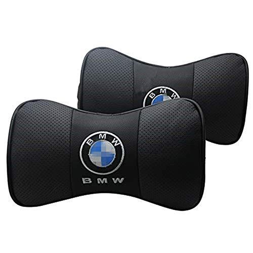 Coche deportivo 2 piezas Forma de hueso Cuero Asiento de coche Cojín Cuello Cojín Cojín cómodo con diseño de logo (B-MW)