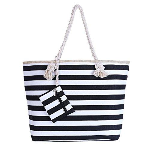 Große Strandtasche mit Reißverschluss 58 x 38 x 18 cm maritime Streifen schwarz weiß Shopper Schultertasche Beach Bag Schwarz-Weiß
